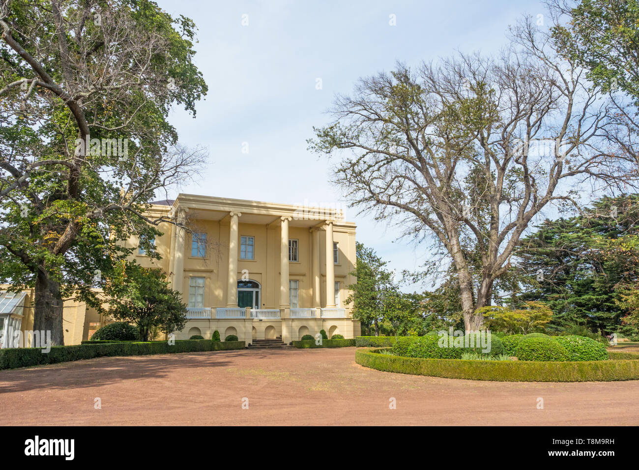 TASMANIA, AUSTRALIA - MARCH 4, 2019: A view of the front of Clarendon House near the town of Evandale in Tasmania, Australia. Stock Photo