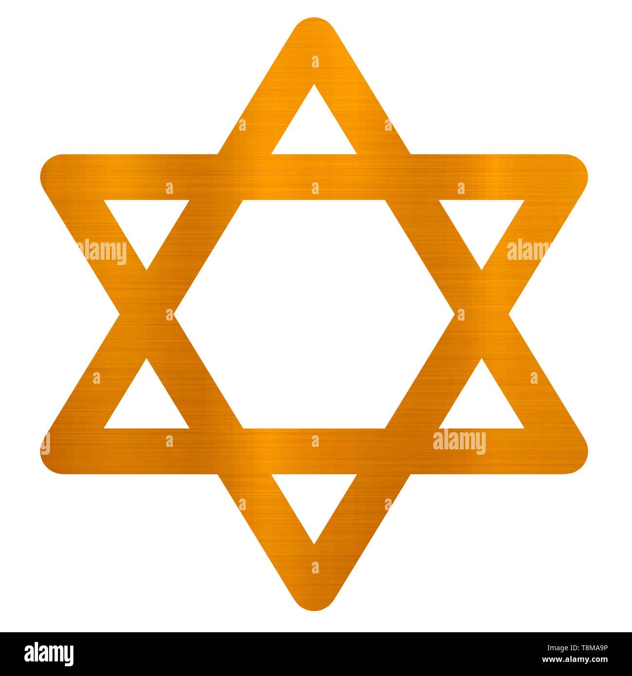 star of david judaism jewish religion golden metallic illustration - Stock Image