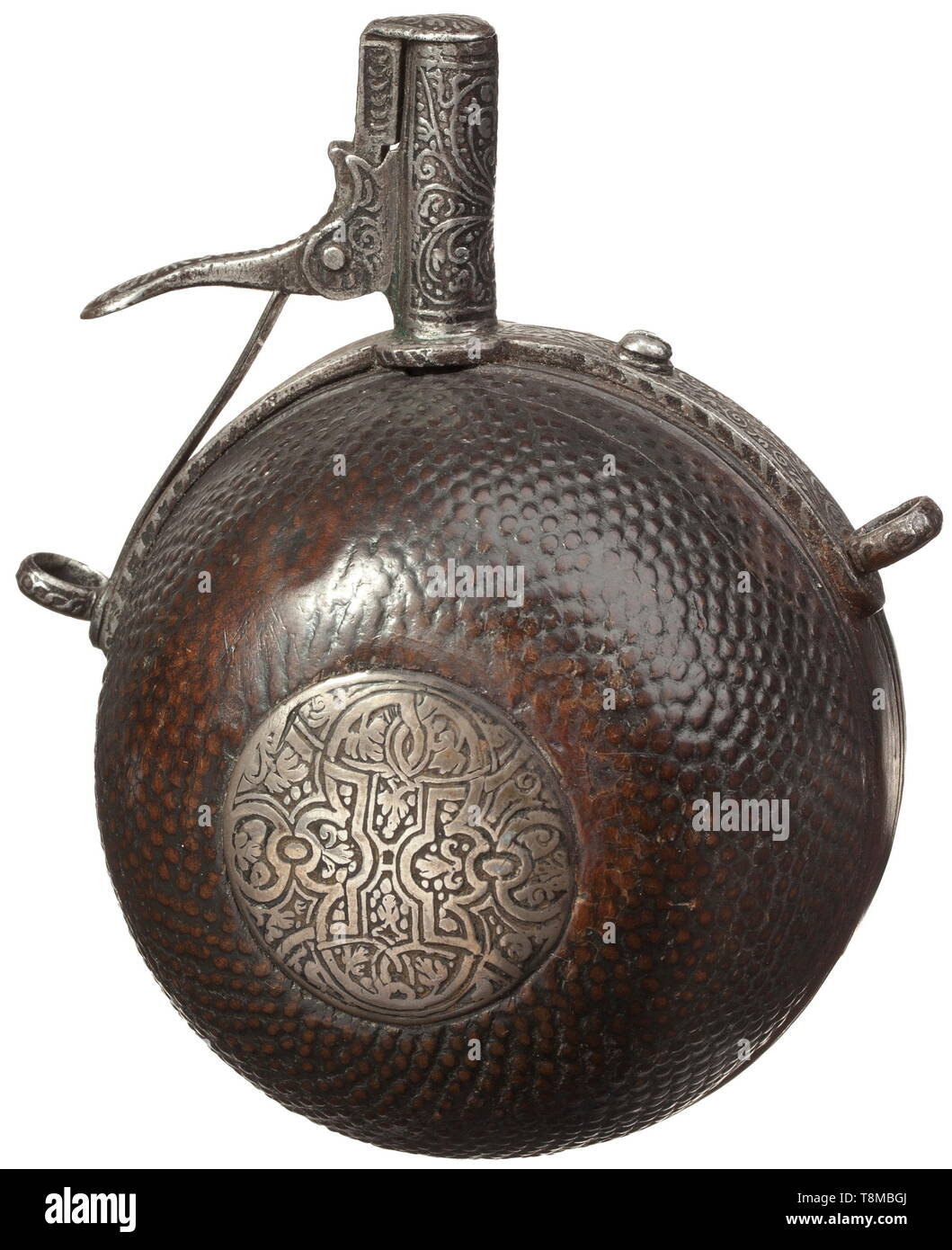 "A powder flask from the Electoral Saxon Trabanten Guard, circa 1590 Semispherical fruitwood body, nubby on the front side, with ornamentally etched, inlaid silver plate. The iron mounting with spring-loaded spout florally etched in the typical Saxon style. On the reverse side an old carved monogram ""AME""(?). Diameter 8 cm. historic, historical, handgun, firearm, fire arm, firearms, fire arms, gun, guns, hand weapon, hand weapons, object, objects, stills, 16th century, Additional-Rights-Clearance-Info-Not-Available Stock Photo"