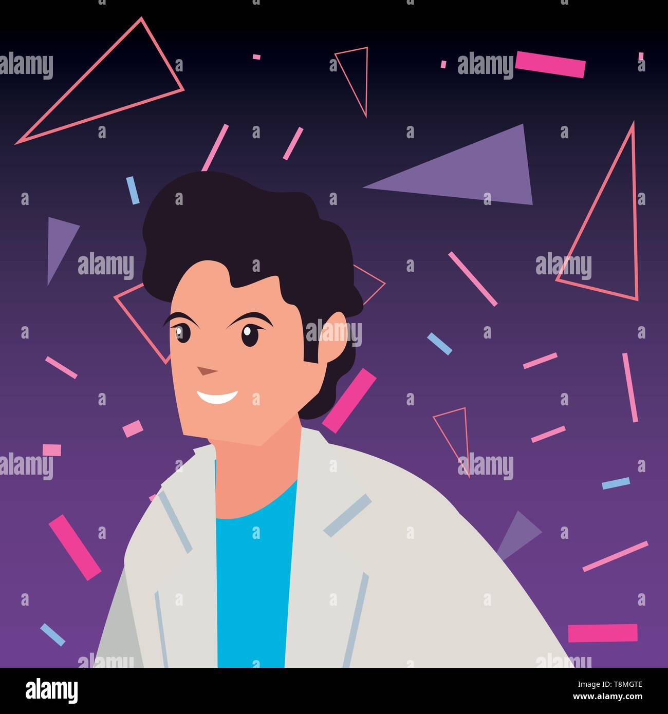 man character retro 80s style memphis background vector