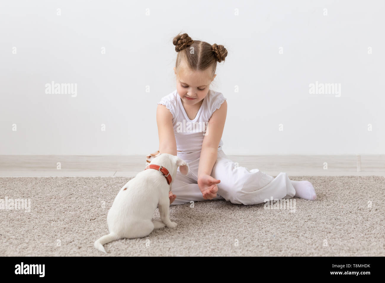 Children and animal concept - Child girl and puppy dressed in pajamas sitting on the floor - Stock Image