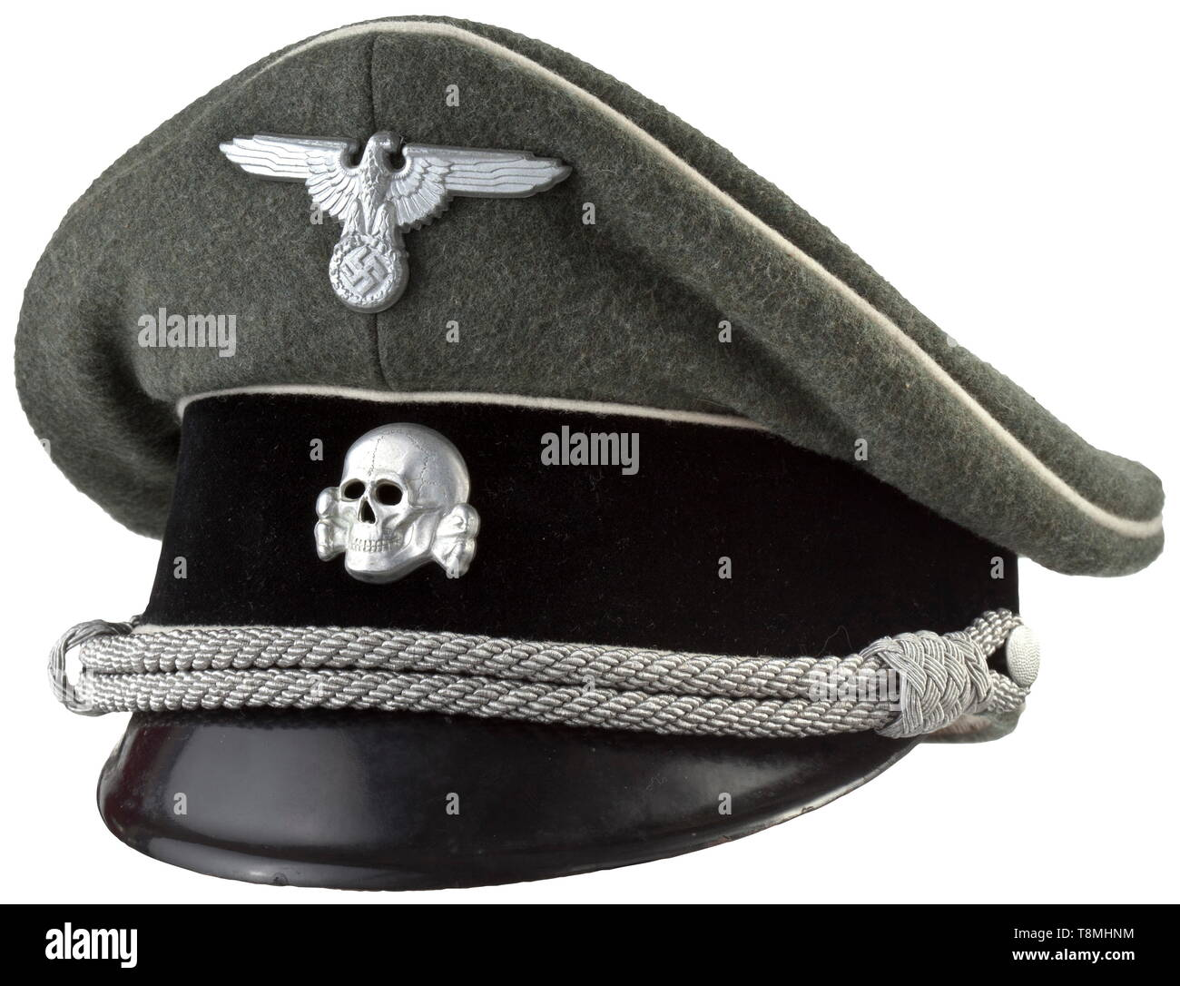 """A visor cap for leaders of the Waffen-SS Field-grey gabardine, black velvet trim stripe, white piping, aluminium insignia, silver cap cord, grey-silk liner with size stamping """"57"""", light brown leather sweat band. Rare. historic, historical, 20th century, 1930s, 1940s, Waffen-SS, armed division of the SS, armed service, armed services, NS, National Socialism, Nazism, Third Reich, German Reich, Germany, military, militaria, utensil, piece of equipment, utensils, object, objects, stills, clipping, clippings, cut out, cut-out, cut-outs, fascism, fascistic, National Socialist, N, Editorial-Use-Only Stock Photo"""