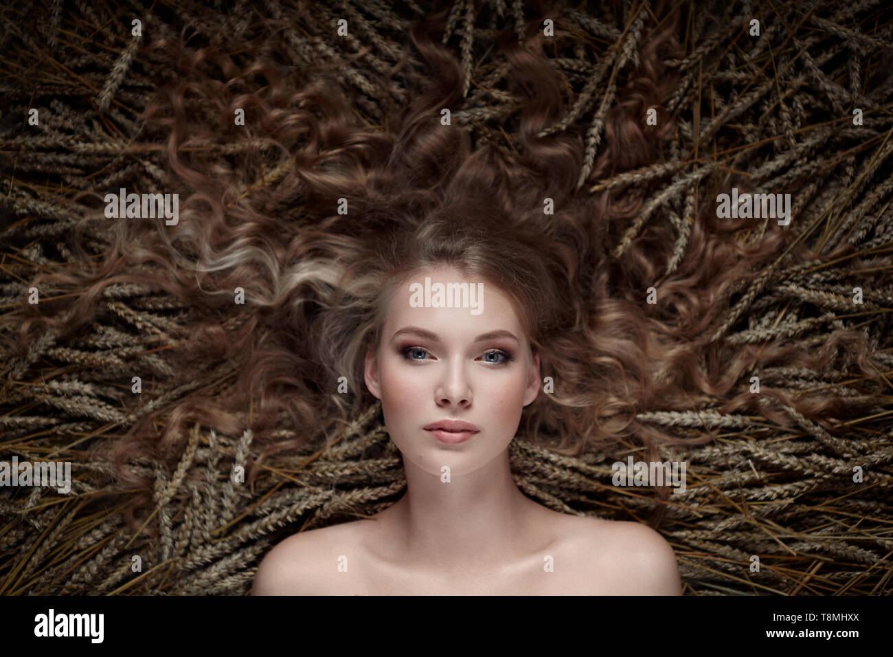 Portrait of a girl in ears - Stock Image
