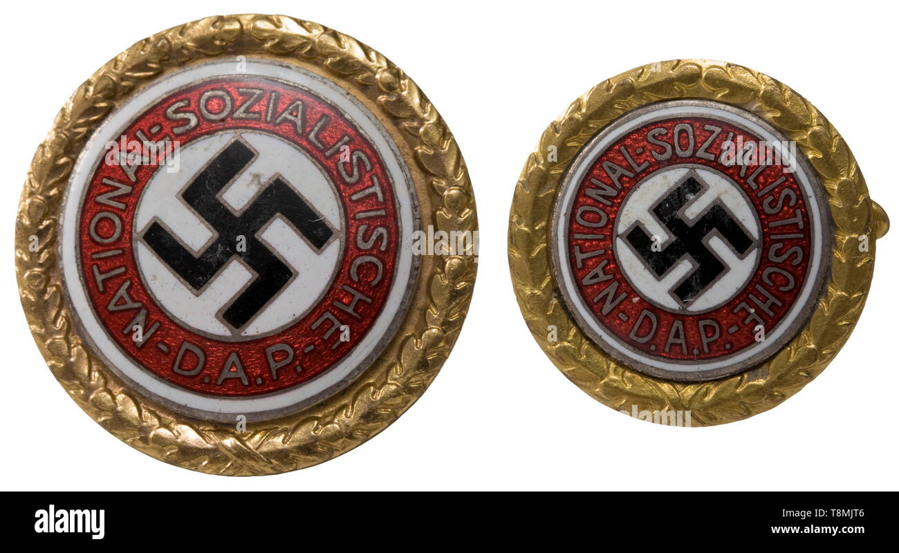 Gauleiter Hubert Klausner - a Golden Honour Badge with date of award Large and small version with a diameter of 30 and 24 mm, respectively. Either piece hollow backed and gilt with polychrome enamelled, silver-pla 20th century, Editorial-Use-Only - Stock Image