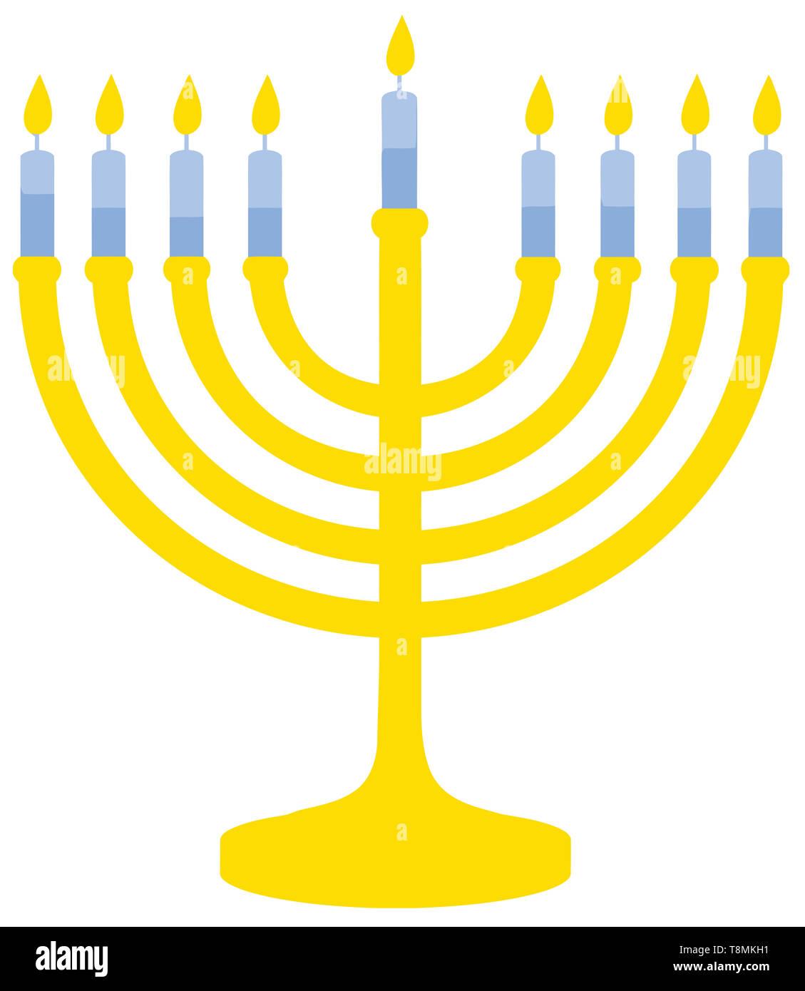 hanukkah menorah culture jewish celebration candle illustration faith israel - Stock Image