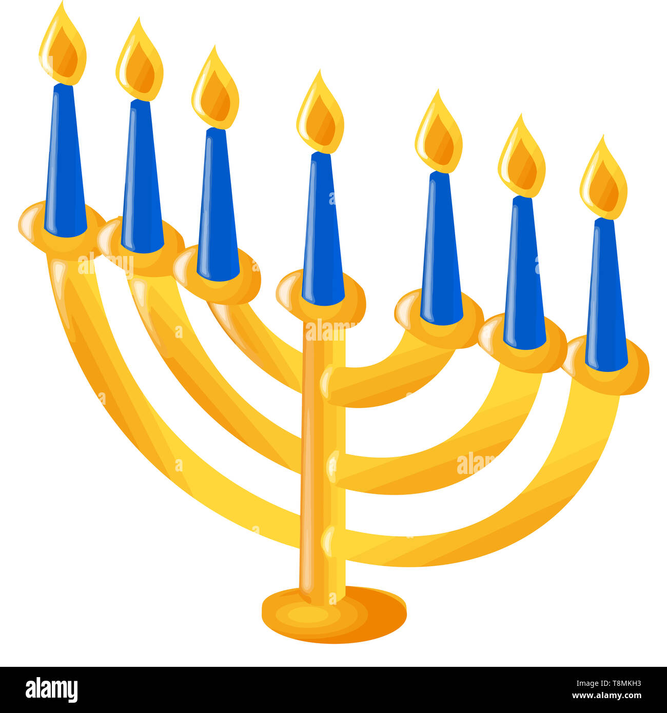 hanukkah menorah culture jewish celebration candle illustration faith - Stock Image
