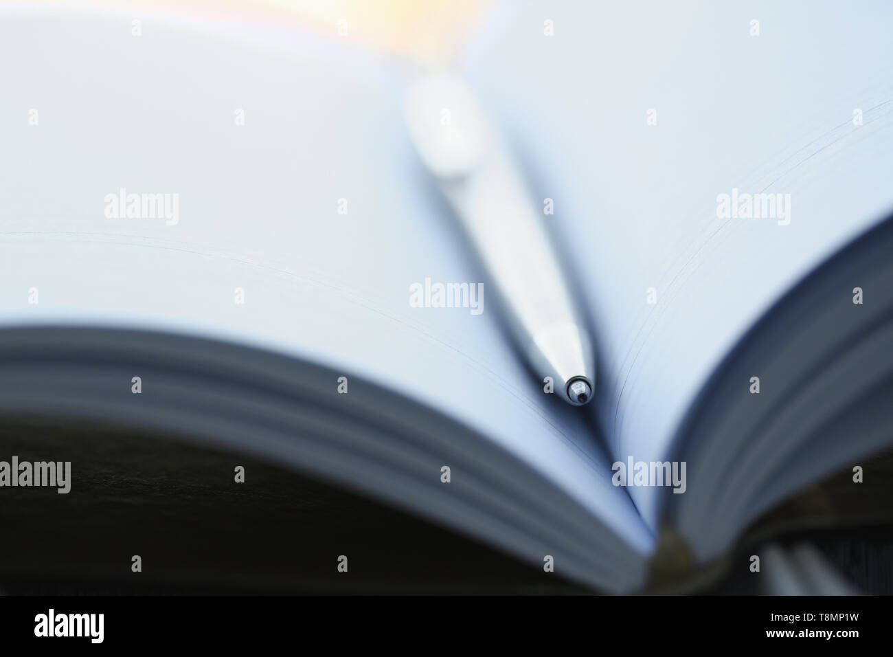 Silver pen lying on opened notebook sheet - Stock Image