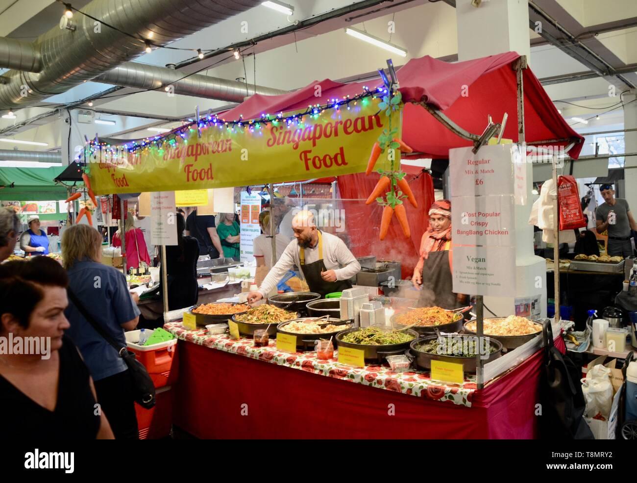 singaporean food stall at sunday upmarket brick lane london east UK Stock Photo
