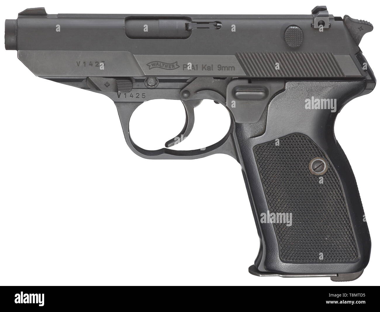 A Walther P1A1, Bundeswehr prototype Cal. 9 mm Parabellum, no. V1425. Matching numbers. Bright bore, length 90 mm. German civilian proof mark 1987. One-piece barrel. Barrel with latch and secured by way of interior hexagon screw. Exterior breech in shape similar to P 5. V rear sight and post sight. Both with white points as brightness markings. Automatic firing pin safety. Additional mechanical safety in form of a push piece 20th century, Additional-Rights-Clearance-Info-Not-Available - Stock Image