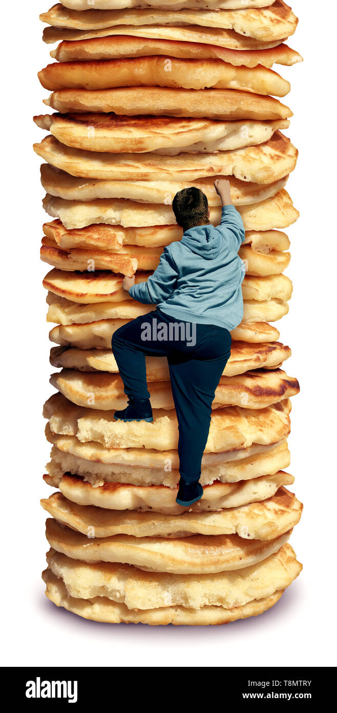 Obesity and hunger as an unhealthy diet as a fat person climbing a high stack of pancakes as a composite. - Stock Image