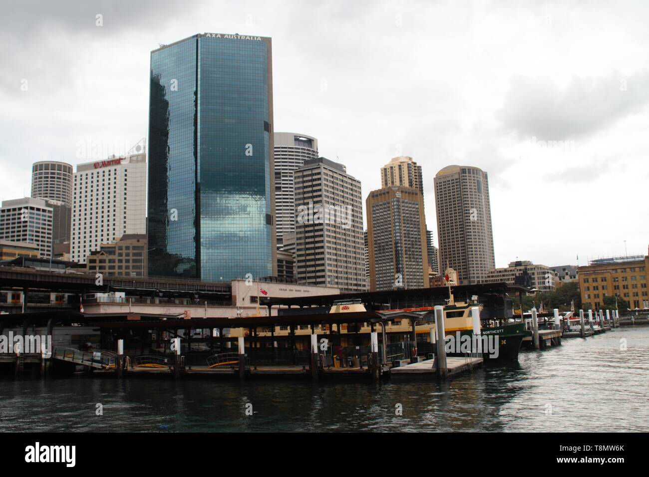 Sydney skyline view from the harbour pier - Stock Image