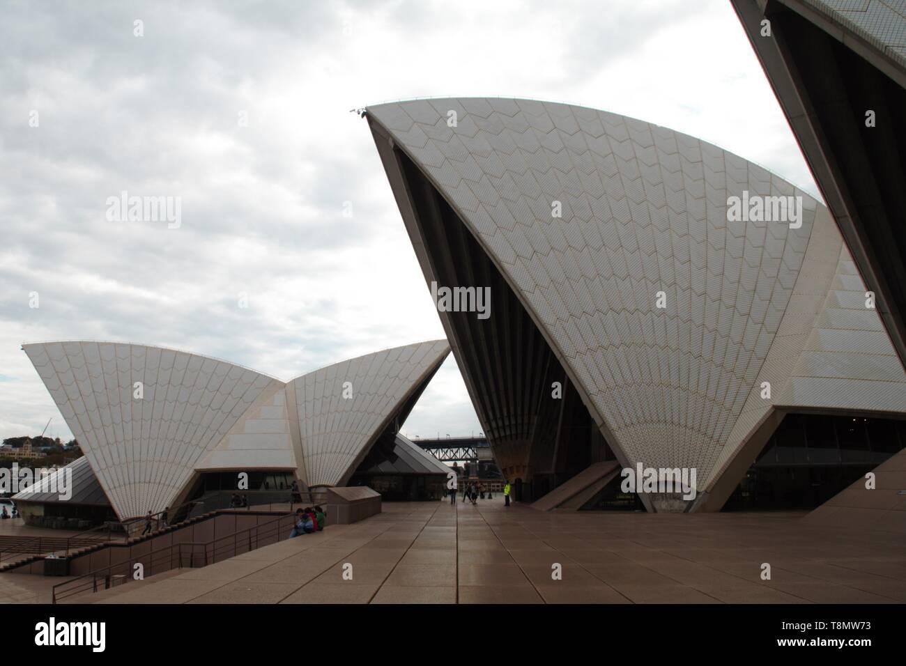 White impressive Sydney opera house – Typical view - Stock Image