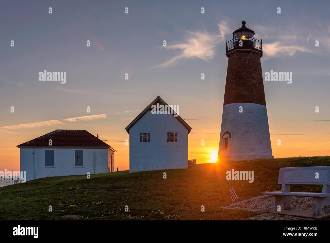 The Point Judith light lighthouse near Narragansett, Rhode Island, USA. - Stock Image