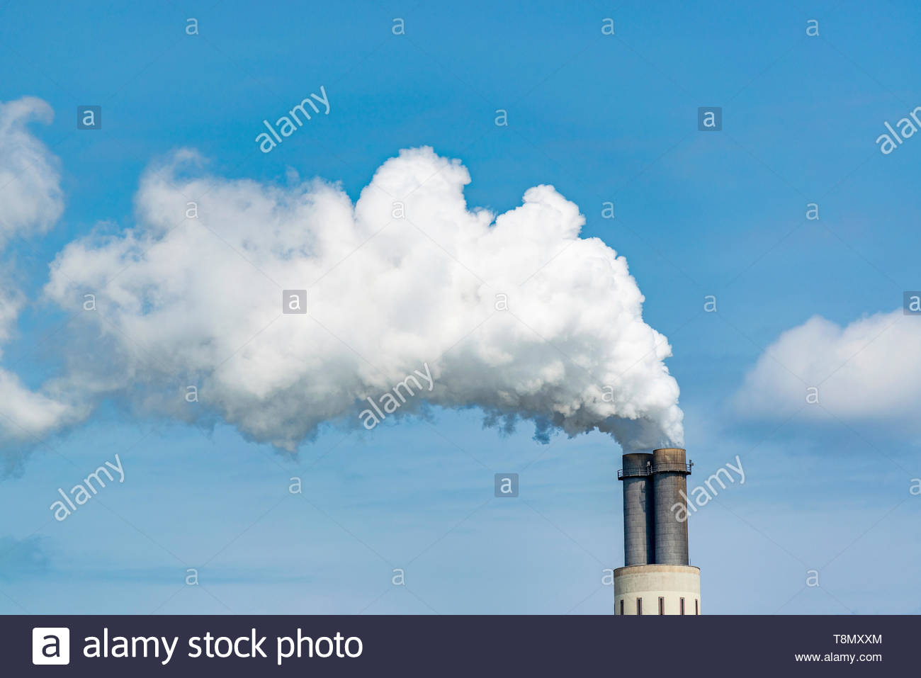 industrial chimneys or vents in an industrial plant - Stock Image
