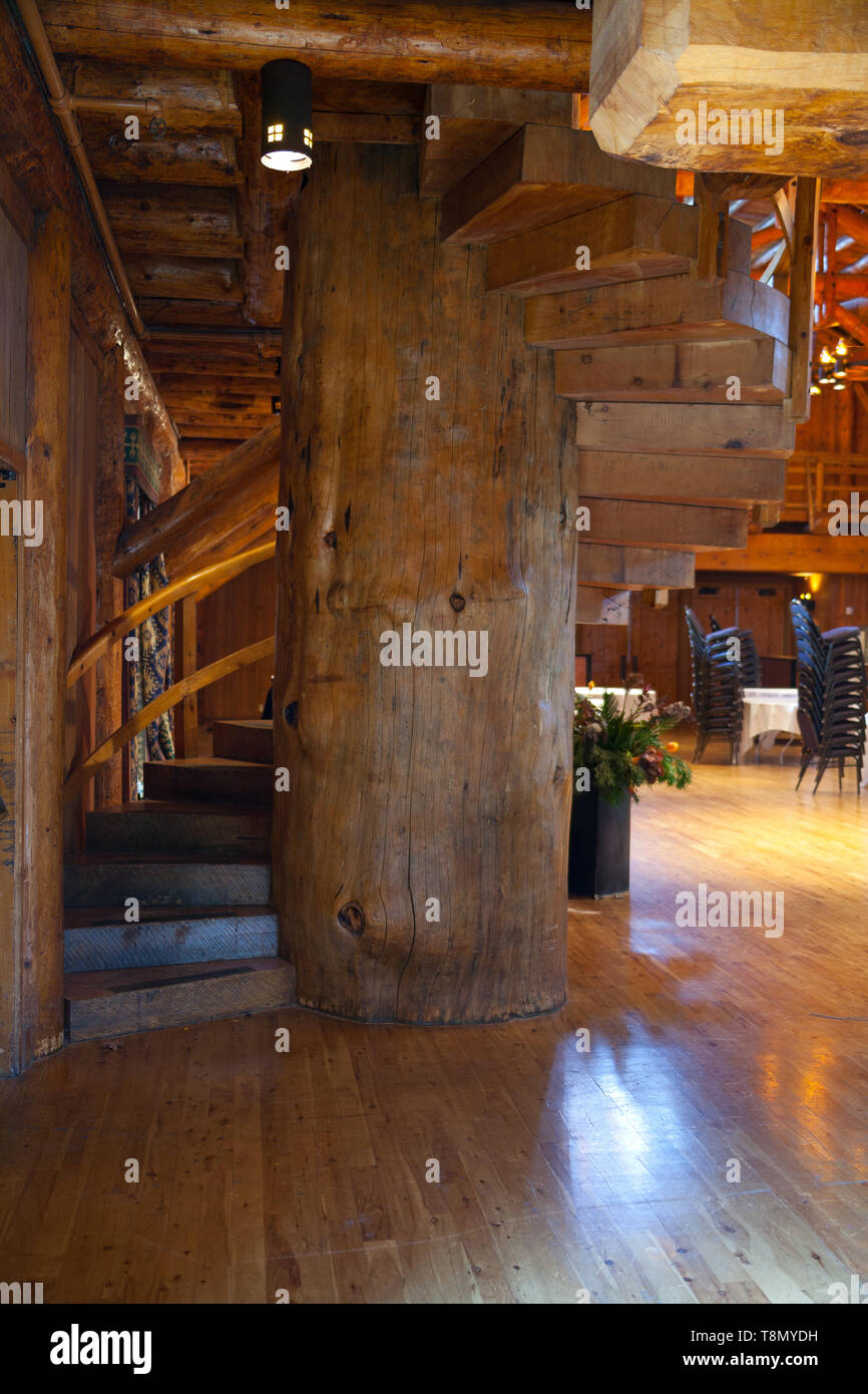The Grand Hall displays many rustic construction features in this elegantly appointed officer's mess building using hand hewn logs and native stones. - Stock Image