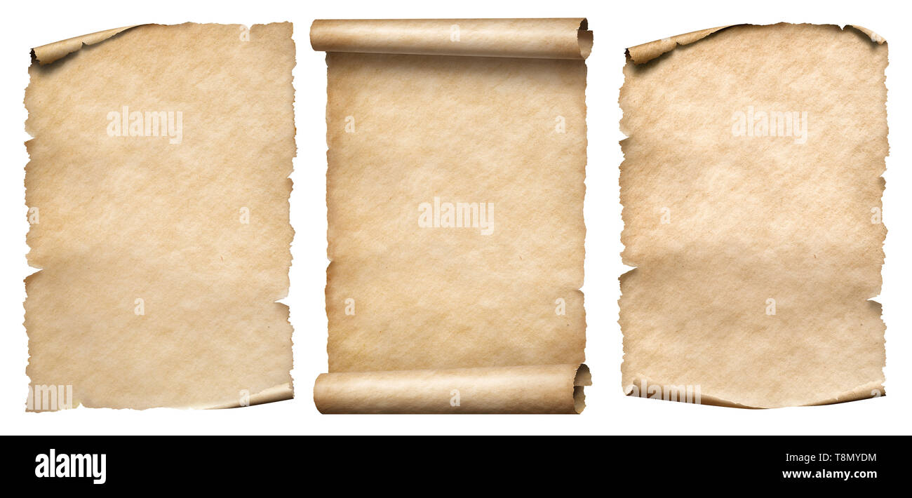Vintage paper or parchments set isolated on white - Stock Image