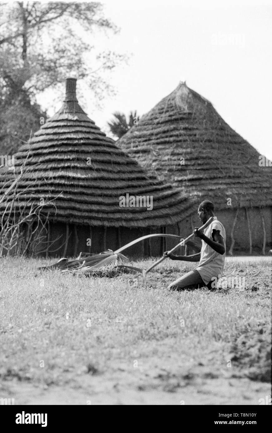 Dika tribe with their ringed edged roof,  Malual Kon - Stock Image
