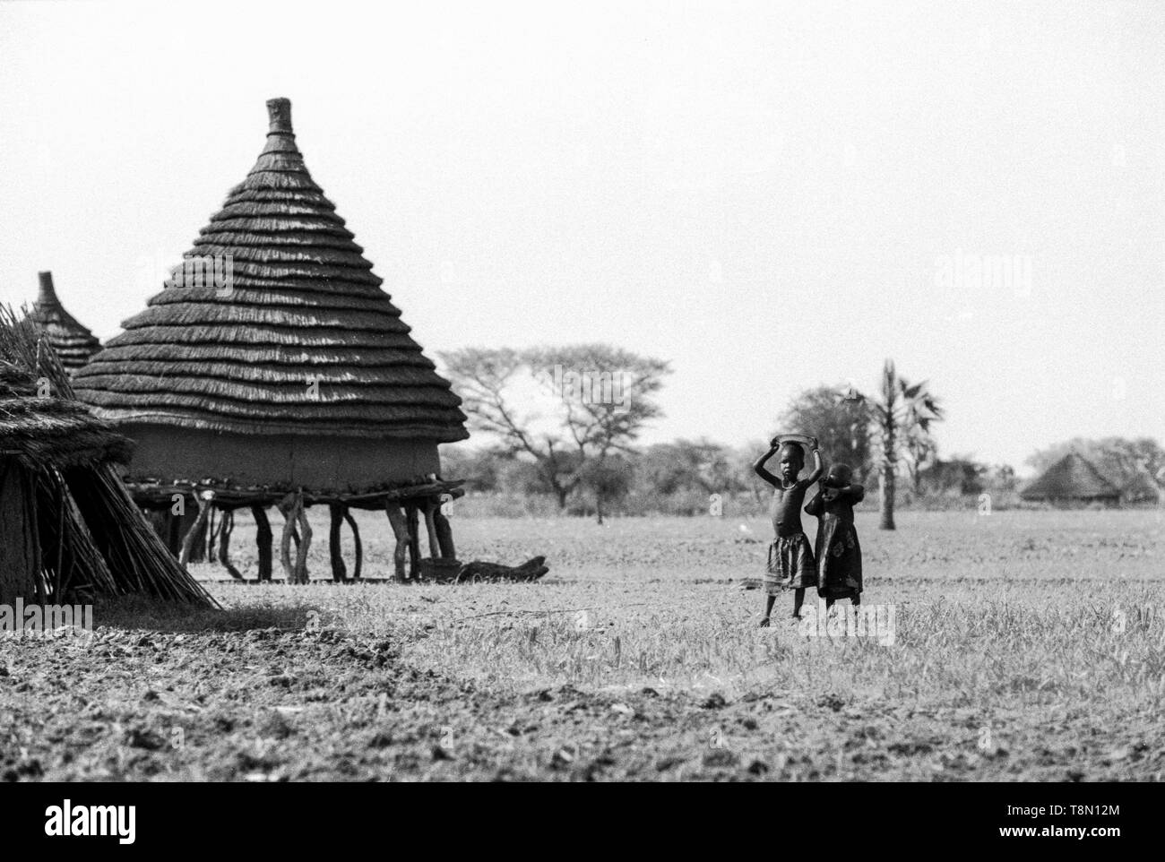 Children standing near the stores that are in stilts, Dinka tribe, Malual Kon, South Sudan - Stock Image