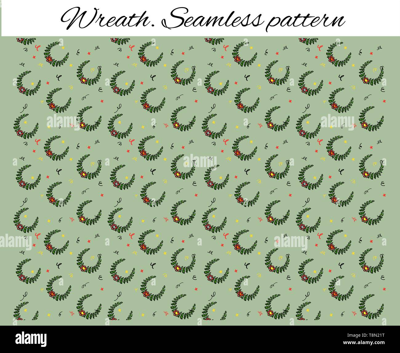 Seamless pattern with decorative wreaths and confetti. Cute drawing in the style of a sketch. Vector illustration for sports booklet. Backdrop for - Stock Vector