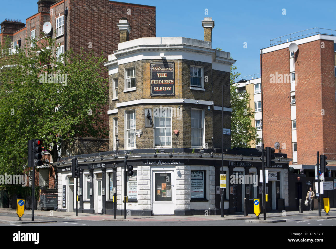 exterior of the fiddler's elbow, a former pub functioning as a live music venue in belsize park, london, england - Stock Image