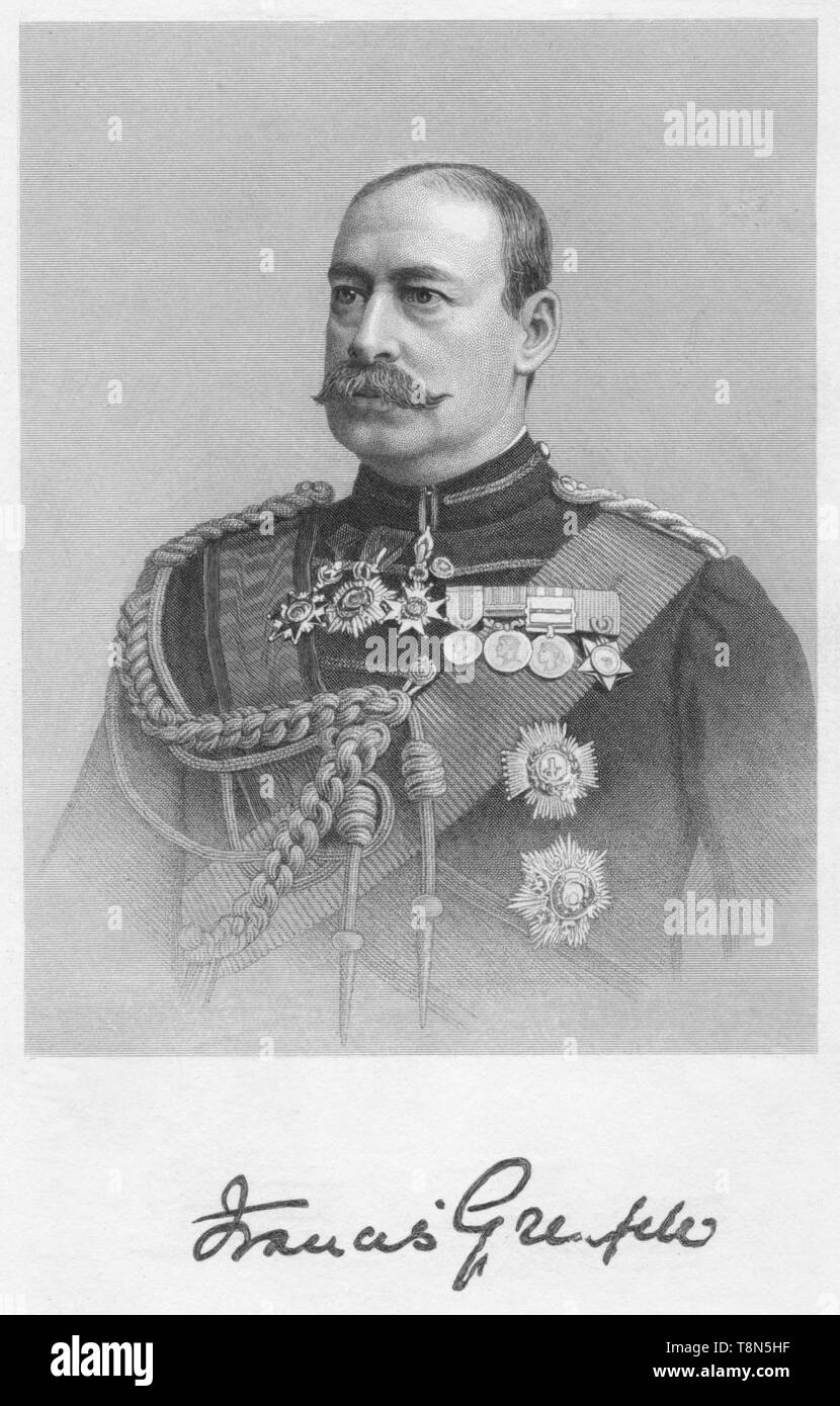 "'Francis Grenfell', 1893. Portrait of General Sir Francis Wallace Grenfell, British soldier. Grenfell (1841-1925) served as Governor of Malta from 1899-1903 and was promoted to Field Marshal in 1908. From ""Baily's Magazine of Sports and Pastimes"", Vol. LIX. [Vinton & Co Ltd, London, 1893] - Stock Image"