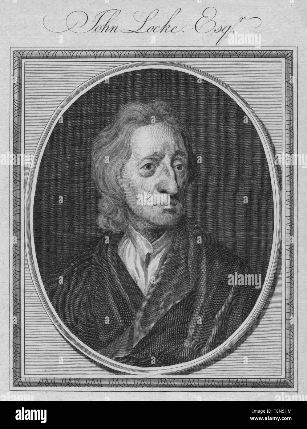 "'John Locke. Esq', 1786.John Locke (1632-1704), English philosopher, physician and Enlightenment thinker important to social contract theory and considered to be as the ""Father of Liberalism.  From ""The History of England"" by Paul de Rapin-Thoyras. [Harrison, London, England] - Stock Image"