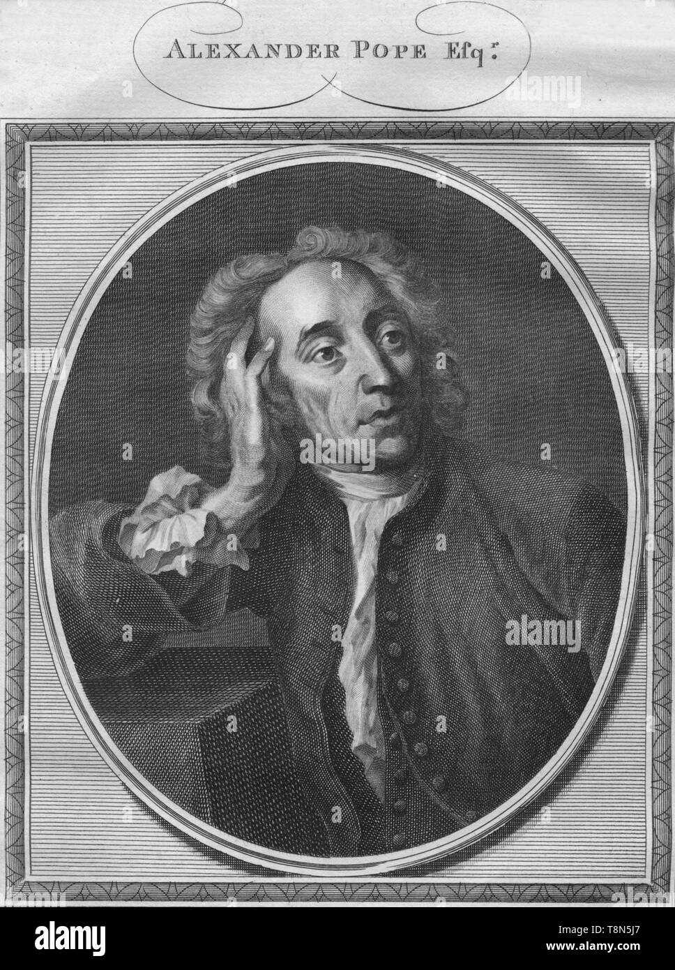 """'Alexander Pope Esq.', 1785. Alexander Pope (1688-1744), 18th-century English poet, he suffered numerous health problems and made enemies with his satire and criticisms of prominent figures. From """"The History of England"""" by Paul de Rapin-Thoyras. [Harrison, London, England] - Stock Image"""