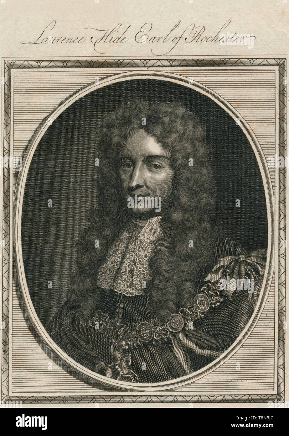 "'Laurence Hide Earl of Rochester', 1785. Laurence Hide, 1st Earl of Rochester (1642-1711),  English statesman and writer,  originally a supporter of James II he later supported the Glorious Revolution in 1688.  First Lord of the Treasury From ""The History of England"" by Paul de Rapin-Thoyras. [Harrison, London, England] - Stock Image"