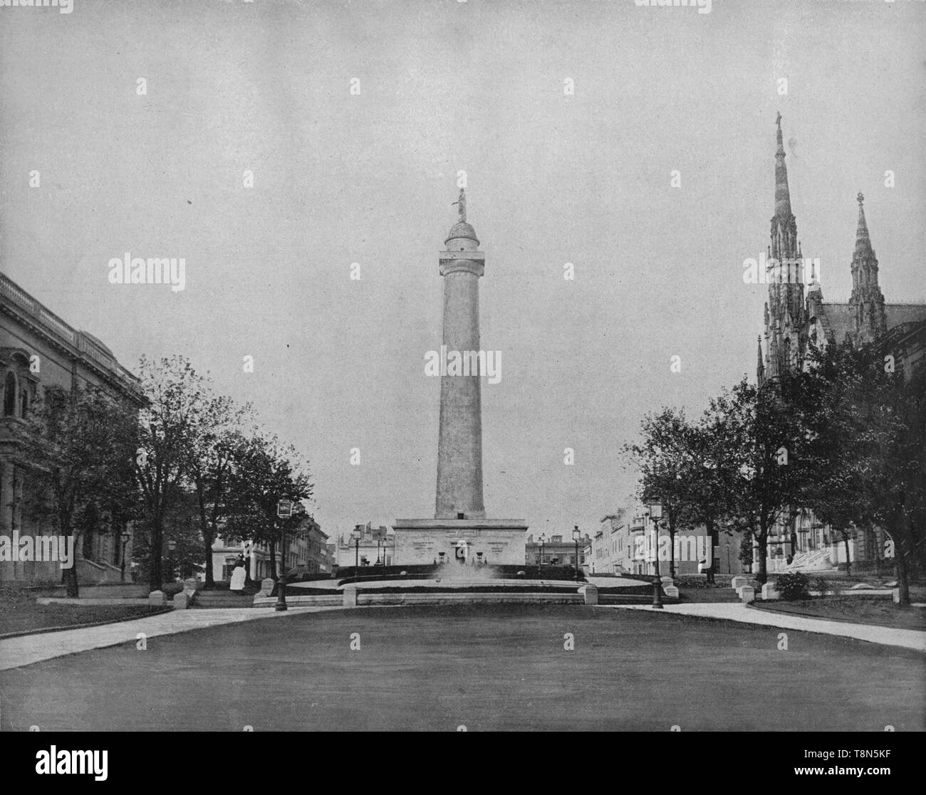 "'Washington Monument, Baltimore', c1897. Doric column in white marble. The first major monument honoring George Washington (1732-1799), designed by American architect Robert Mills (1781-1855).  From ""A Tour Through the New World America"", by Prof. Geo. R. Cromwell. [C. N. Greig & Co., London, c1897] - Stock Image"