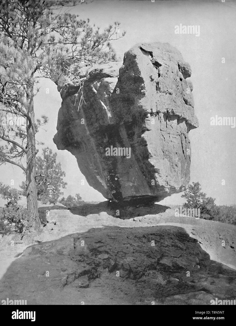 "'Balanced Rock, Garden of the Gods, Col.', c1897. Garden of the Gods, a public park in Colorado Springs, Colorado, US designated a National Natural Landmark.  From ""A Tour Through the New World America"", by Prof. Geo. R. Cromwell. [C. N. Greig & Co., London, c1897] - Stock Image"