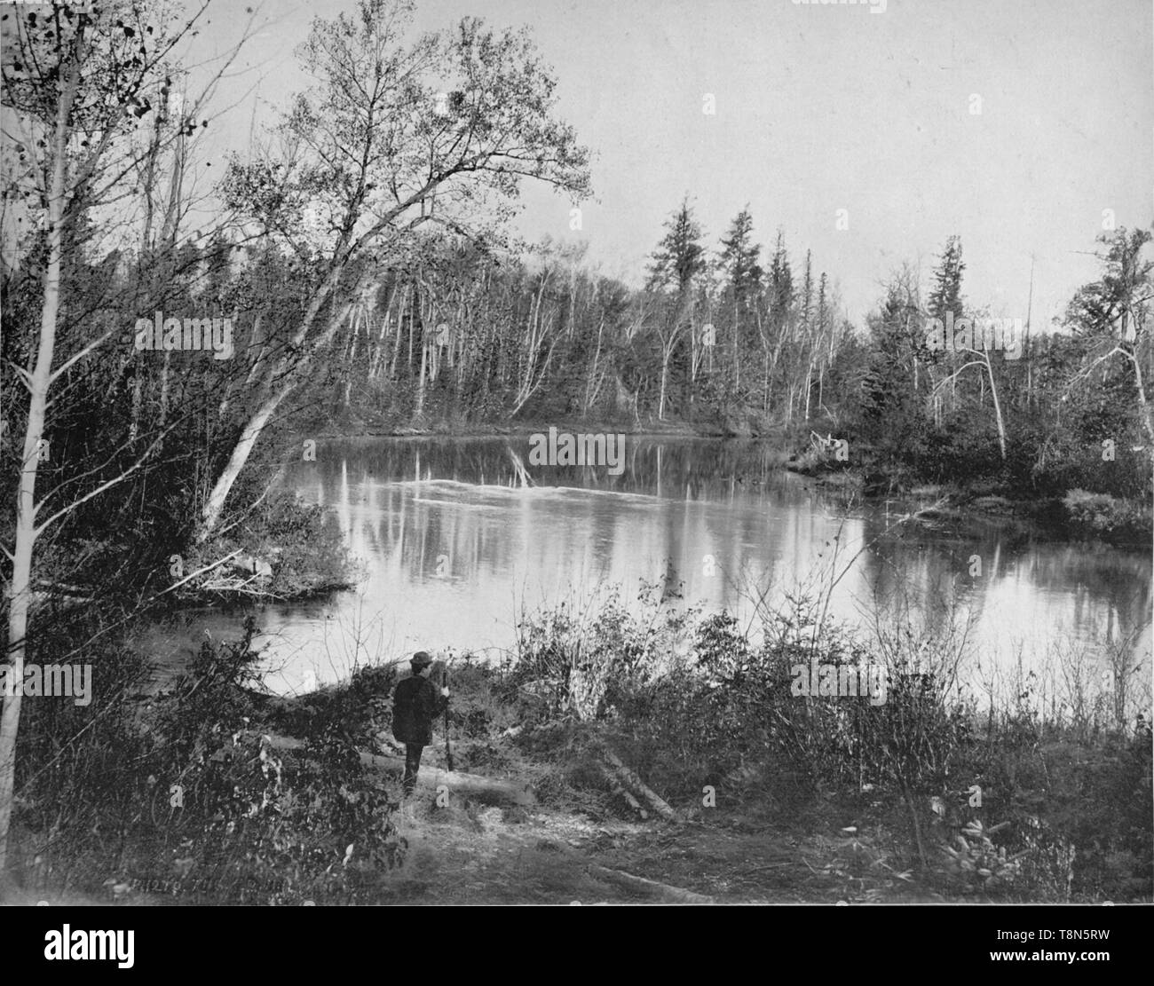 """'Scene on Peshtigo River, Wisconsin', c1897. The river shares its name with the city of Peshtigo, destroyed by the Peshtigo Fire on October 8, 1871. Many people fled for the river to escape the inferno. From """"A Tour Through the New World America"""", by Prof. Geo. R. Cromwell. [C. N. Greig & Co., London, c1897] - Stock Image"""