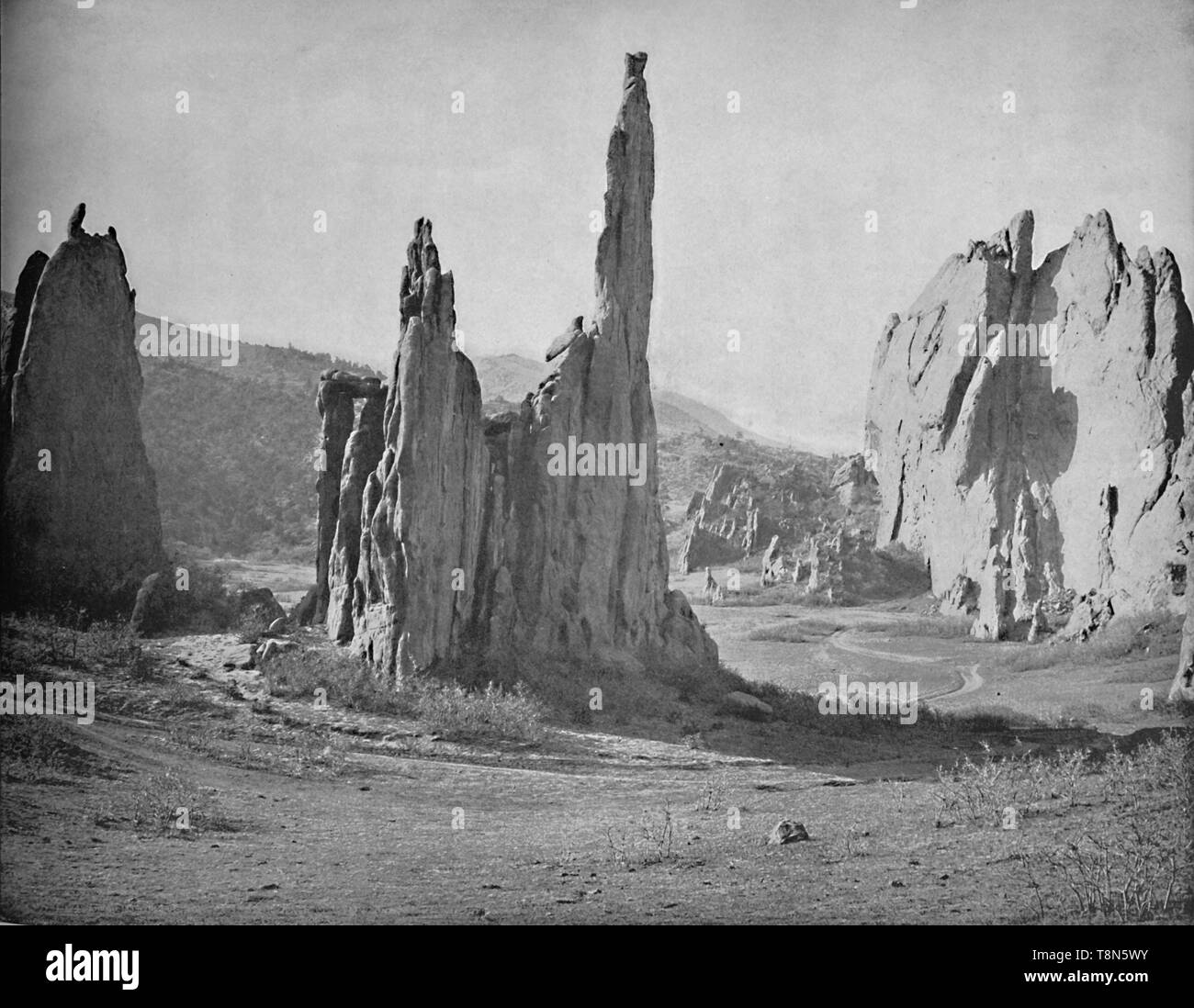 "'Cathedral Spires, Garden of the Gods, Colorado', c1897. Red rock formations  in Colorado Springs purchased in 1879 by Charles Elliott Perkins and on his death, given to the City of Colorado Springs. From ""A Tour Through the New World America"", by Prof. Geo. R. Cromwell. [C. N. Greig & Co., London, c1897] - Stock Image"