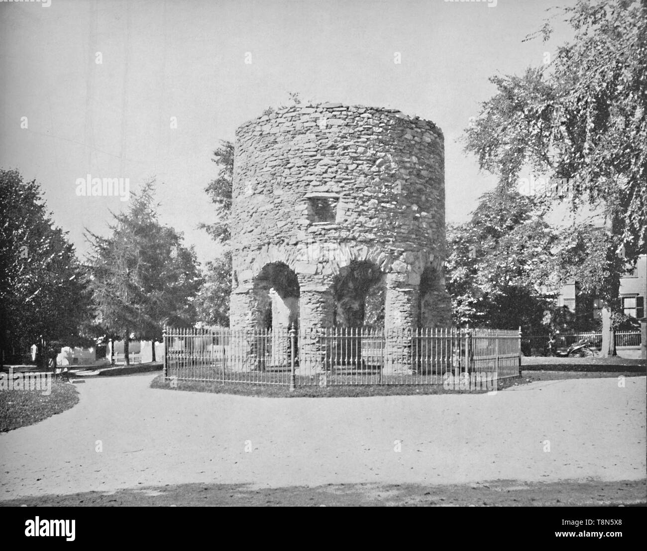 """'The Old Norse, Tower, Newport, R.I.', c1897. Newport Tower in Touro Park, Newport, Rhode Island is the remains of a windmill built in mid-17th century. From """"A Tour Through the New World America"""", by Prof. Geo. R. Cromwell. [C. N. Greig & Co., London, c1897] - Stock Image"""