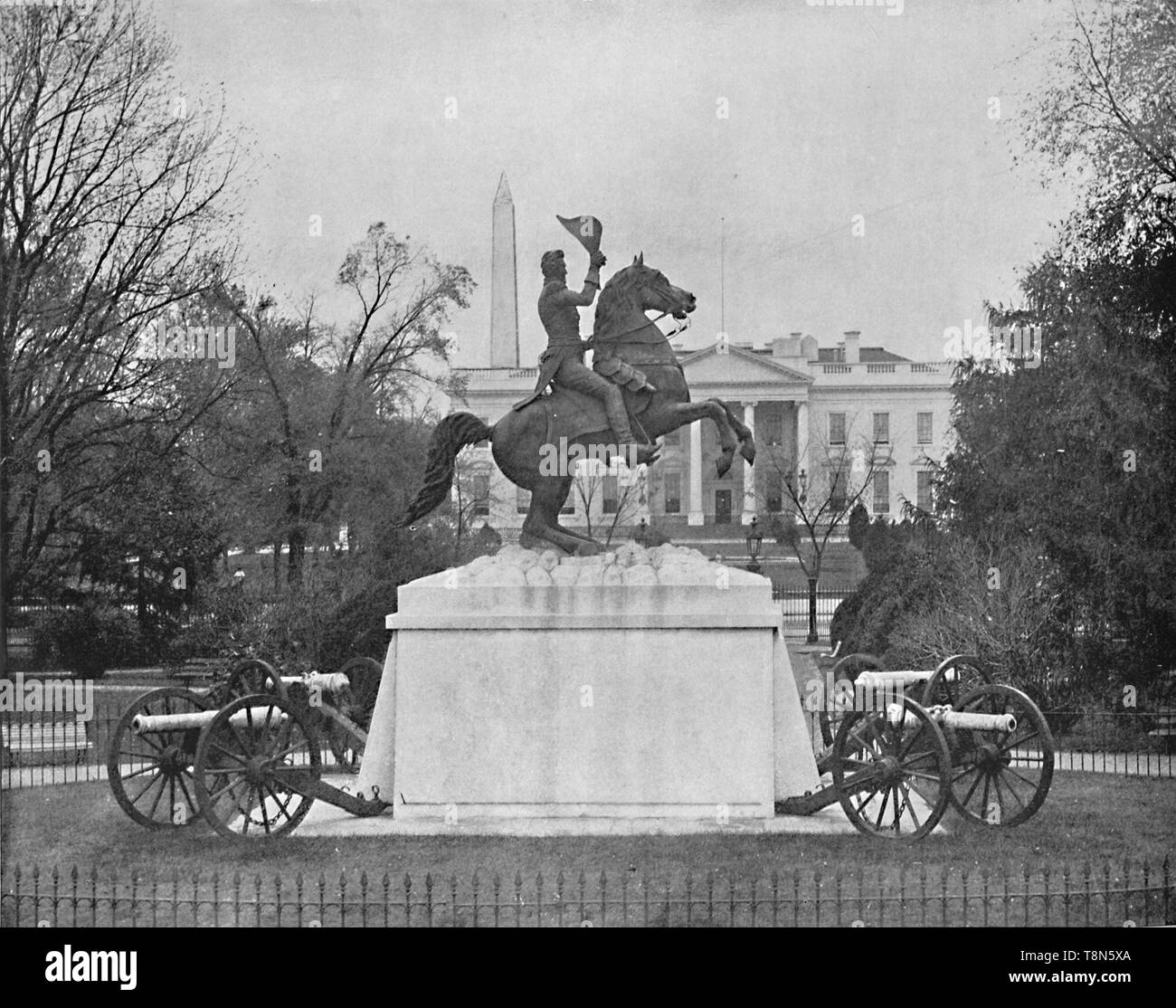 "'Jackson Statue, Lafayette Square, Washington, D.C.', c1897. Bronze equestrian statue by Clark Mills in Lafayette Square, Washington, D.C. commemorating General Andrew Jackson at the Battle of New Orleans. From ""A Tour Through the New World America"", by Prof. Geo. R. Cromwell. [C. N. Greig & Co., London, c1897] - Stock Image"