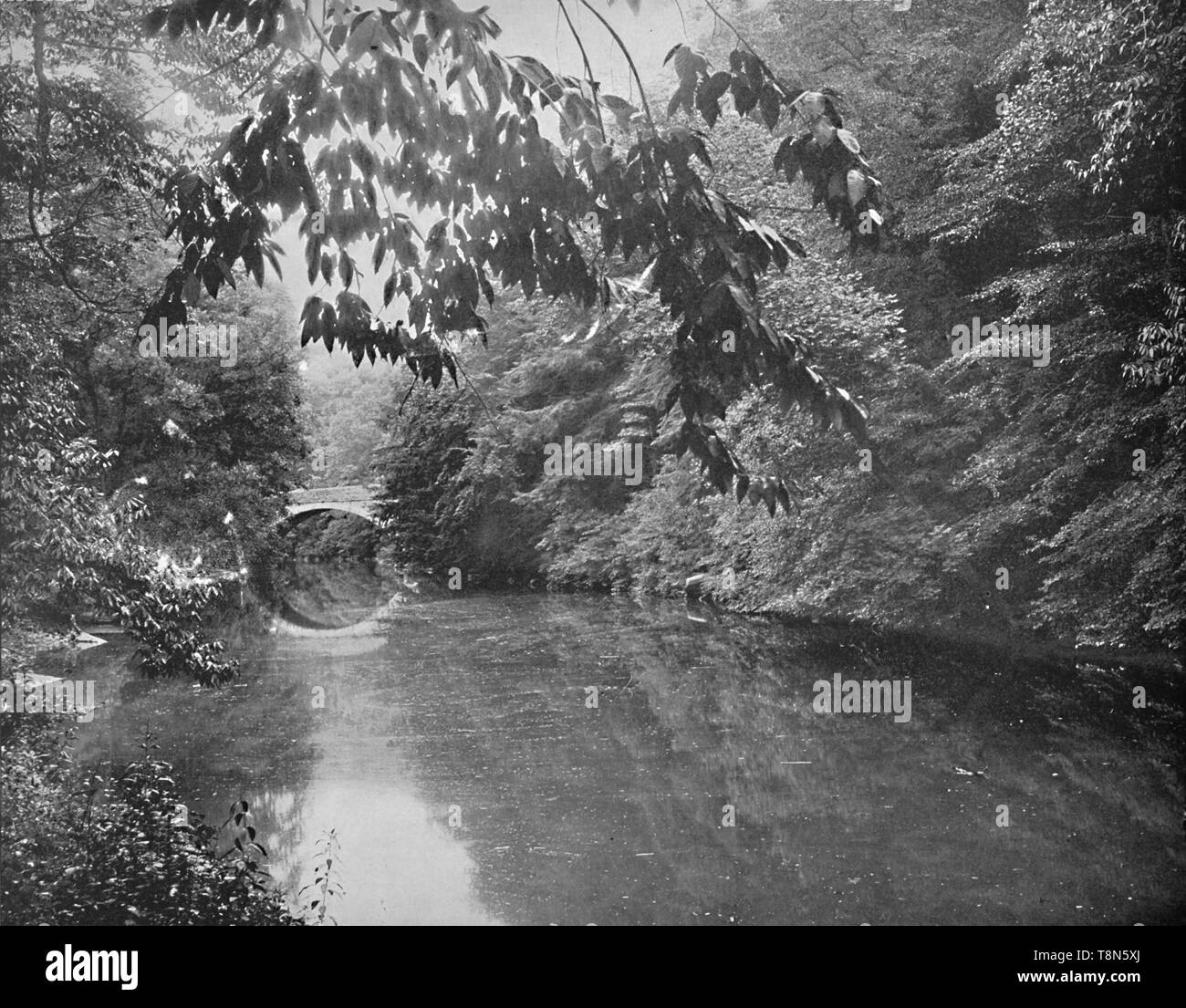 """'On Wissahickon Creek, Fairmount Park, Philadelphia', c1897.  The beauty of this area attracted the attention of Edgar Allan Poe and John Greenleaf Whittier. From """"A Tour Through the New World America"""", by Prof. Geo. R. Cromwell. [C. N. Greig & Co., London, c1897] - Stock Image"""