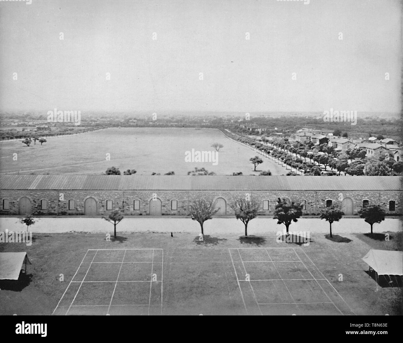 "'Parade Grounds, San Antonio, Texas', c1897. Fort Sam Houston is a U.S. Army post in San Antonio, Texas. Construction began in mid 1870s From ""A Tour Through the New World America"", by Prof. Geo. R. Cromwell. [C. N. Greig & Co., London, c1897] - Stock Image"