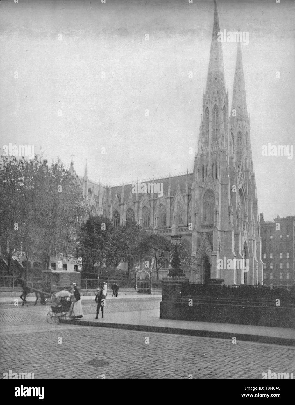 """'St. Patrick's Cathedral, New York City', c1897. Neo-Gothic Roman Catholic cathedral church and landmark on 5th Avenue in New York City, designed by James Renwick Jr. The land on which the cathedral stands was purchased in 1810. From """"A Tour Through the New World America"""", by Prof. Geo. R. Cromwell. [C. N. Greig & Co., London, c1897] - Stock Image"""