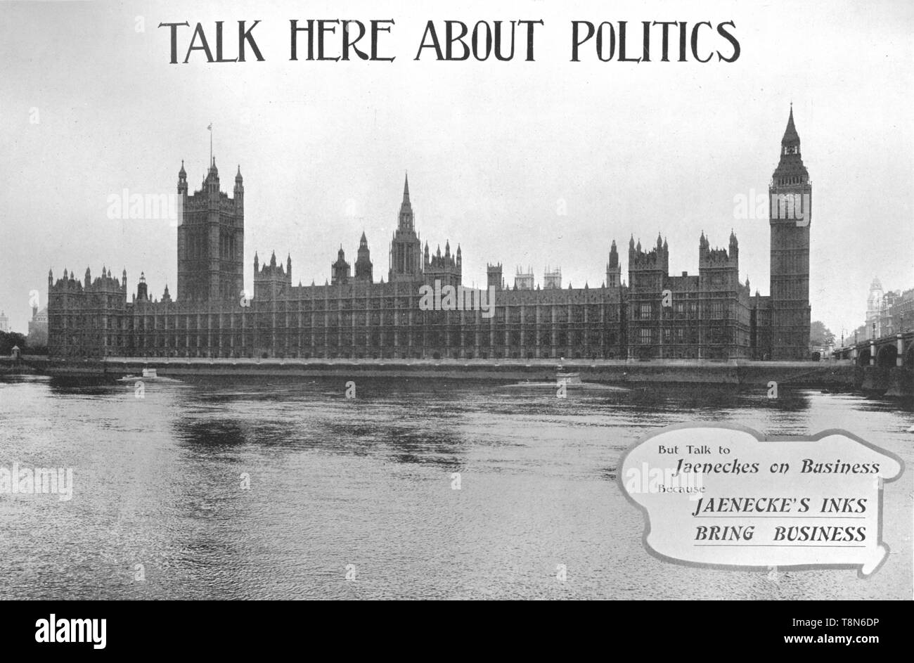 """'Talk Here About Politics - Jaenecke's Inks advertisement', 1909. From """"The British Printer Vol. XXII"""". [Raithby, Lawrence & Co., Ltd, London and Leicester, 1909] - Stock Image"""