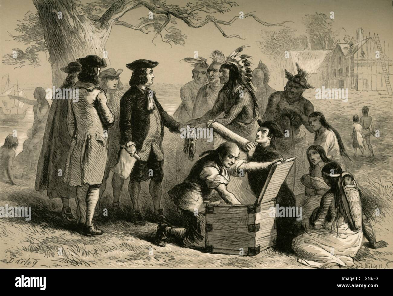 """'Penn's Treaty with the Indians', (1877). English Quaker colonist William Penn (1644-1718) made treaties with Native Americans in what is now the United States. The city of Philadelphia was planned and developed under his direction. From """"Our Country: a Household History for All Readers, from the Discovery of America to the Present Time"""", Volume 1, by Benson J. Lossing. [Johnson & Miles, New York, 1877] - Stock Image"""
