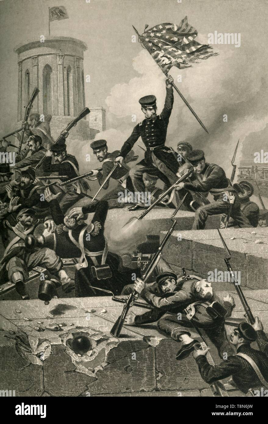 """'Storming of Chapultepec', (1878). The Battle of Chapultepec in September 1847 was fought between the United States Marine Corps and US Army against Mexican forces holding Chapultepec Castle in Mexico City. The Americans took the castle in fierce fighting. From """"Our Country: a Household History for All Readers, from the Discovery of America to the Present Time"""", Volume 3, by Benson J. Lossing. [Johnson & Miles, New York, 1878] - Stock Image"""