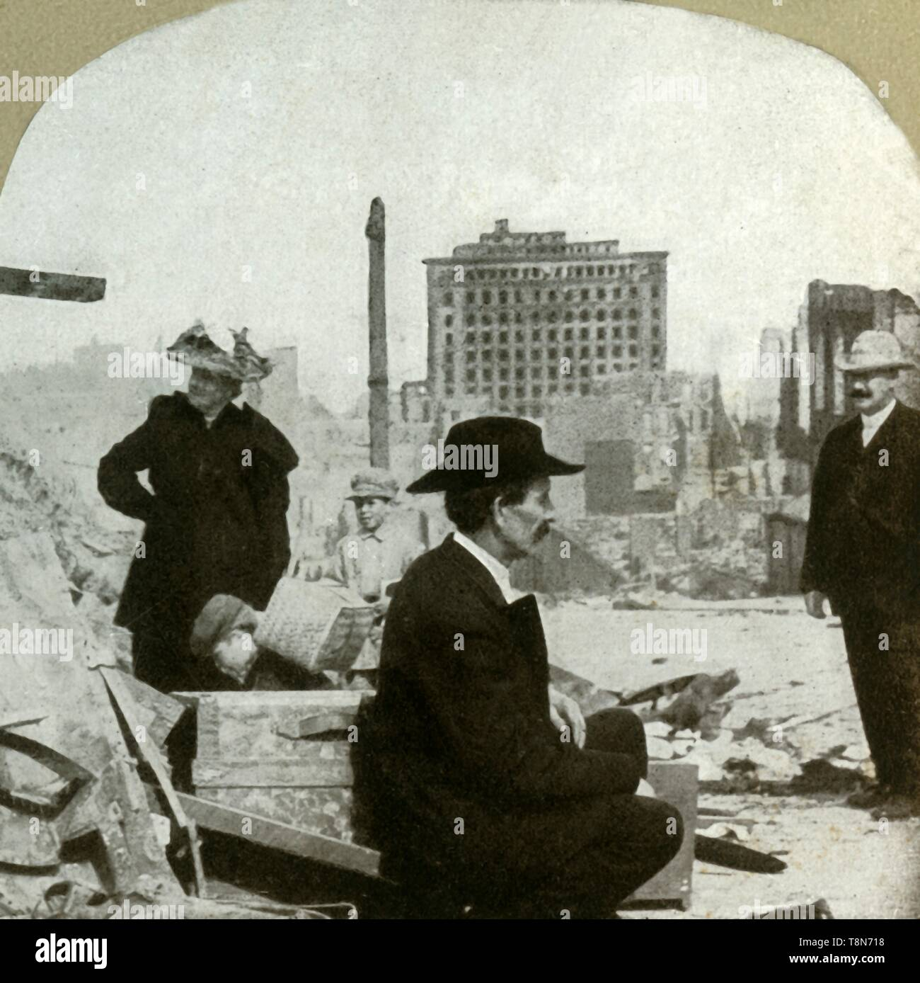 'Looking east from corner Pine and Stockton, showing the ruins of the Mills Building', 1906. The Mills Building, completed in 1892, survived the earthquake and was restored. A major earthquake struck San Francisco, California, USA, on 18 April 1906. As well as damaging many buildings, the quake ruptured gas lines, causing fires to break out. As water mains had also been damaged, firefighters had little chance of fighting the blaze, which went on to destroy some 25,000 buildings. In all, the earthquake and fires killed an estimated 3000 people - the most to lose their lives in a natural disaste - Stock Image