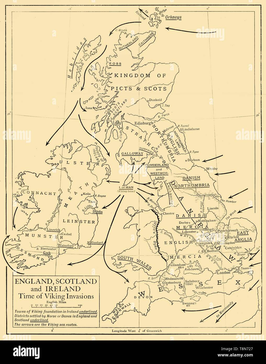 "'England, Scotland and Ireland - Time of Viking Invasions', 1926. Map of Britain during the 9th-11th century. 'Towns of Viking foundation in Ireland underlined. Districts settled by Norse or Danes in England and Scotland are underlined. The arrows are the Viking sea routes.' From ""History of England"", by George Macaulay Trevelyan. [Longmans, Green and Co. Ltd, London, 1926] - Stock Image"