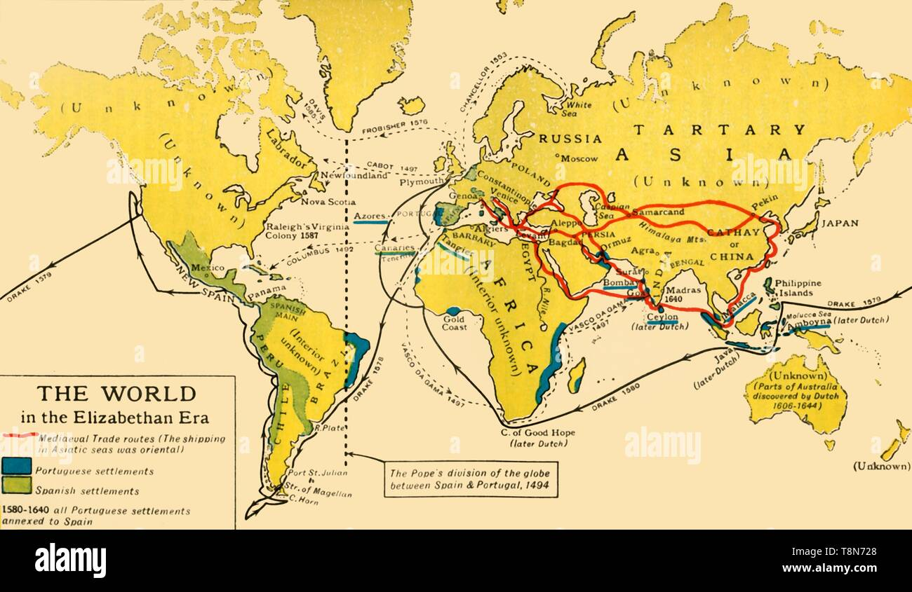 """'The World in the Elizabethan Era', 1926. Map of the world during the reign of Queen Elizabeth I (1558-1603). The key shows: 'Mediaeval Trade routes, (the shipping in Asiatic seas was oriental). Portuguese and Spanish settlements'. The dotted line from Greenland down through eastern Brazil represents the Pope's division of the globe between Spain and Portugal, 1494. Also marked are the voyages of Francis Drake, Vasco da Gama and Christopher Columbus. Many parts of the world remained 'unknown' at that period. From """"History of England"""", by George Macaulay Trevelyan. [Longmans, Green an - Stock Image"""