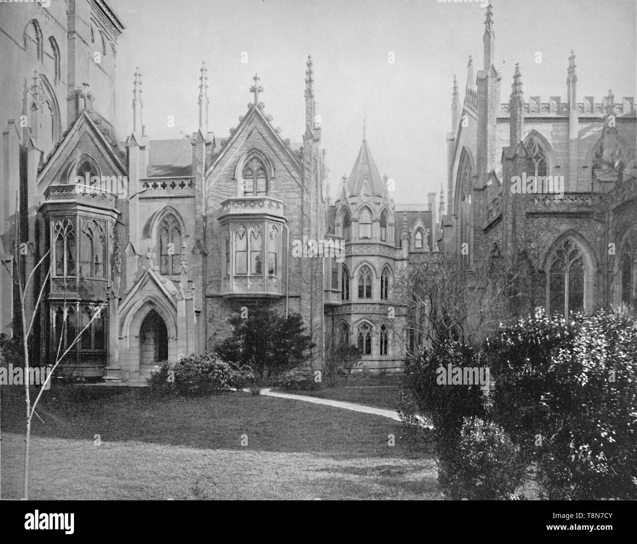 """'Grace Church and Rectory, New York', c1897. French Gothic Revival parich church on Broadway in Manhattan designed by James Renwick. From """"A Tour Through the New World America"""", by Prof. Geo. R. Cromwell. [C. N. Greig & Co., London, c1897] - Stock Image"""