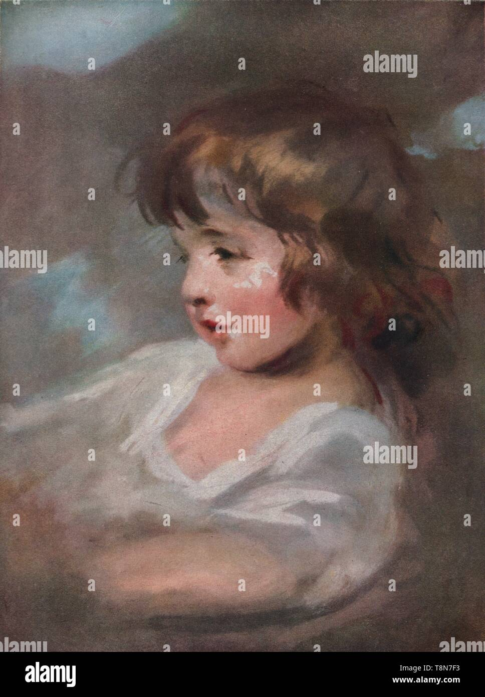 "'Master Bloxham', 1920. Portrait of one of the artist's nephews, a son of Ann Lawrence, sister of the painter Sir Thomas Lawrence.  Sir Thomas Lawrence (1769-1830). Pastel.  From ""The Connoisseur Vol. LVI"" [Otto Limited, London, 1920.] - Stock Image"
