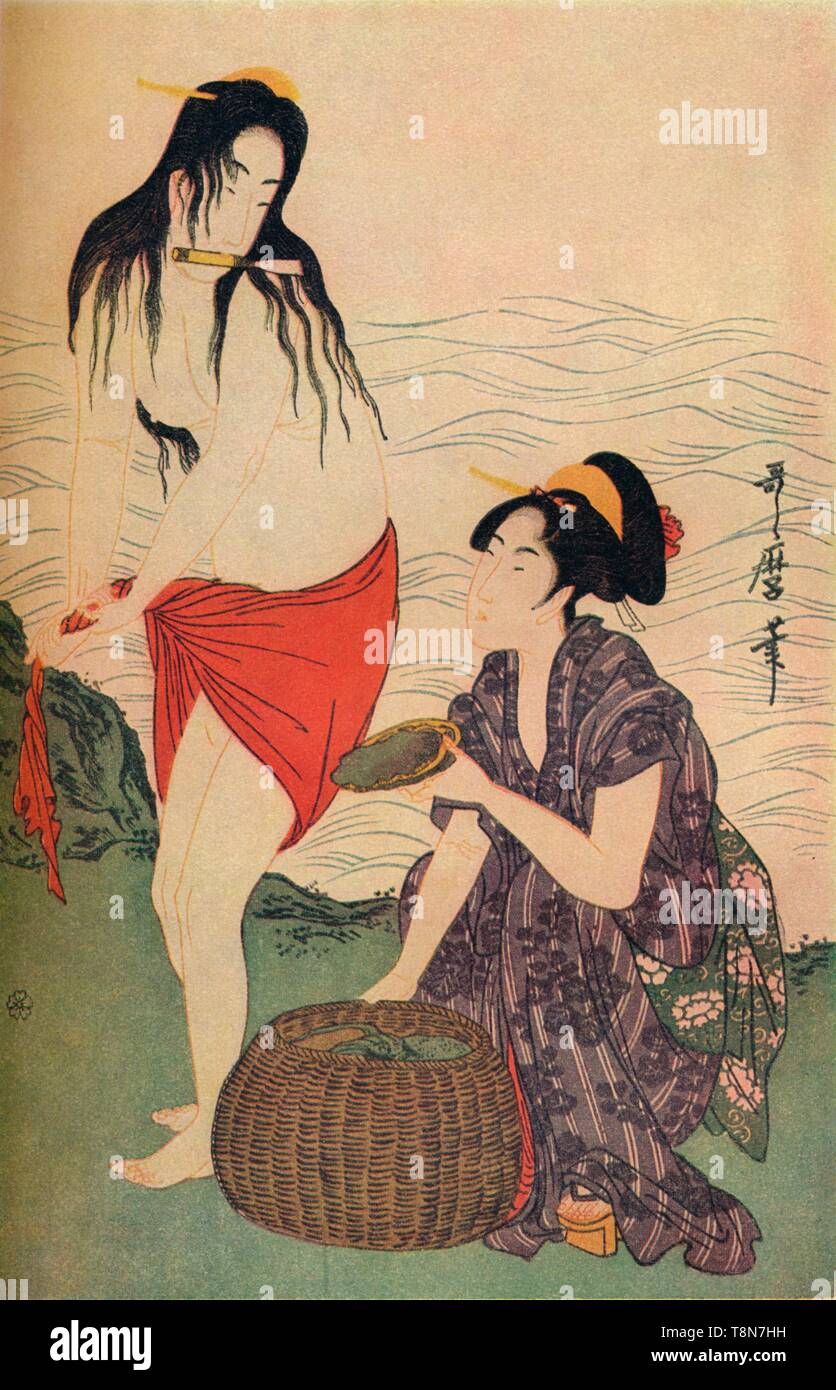 """'Right hand panel of The Pearl Divers triptych by Utamaro', c1797-98, (1936). Kitagawa Utamaro (1753-1806), Japanese ukiyo-e woodblock of a woman wringing waistcloth holding knife in her mouth while another selects shellfish from a basket. Coloured pigment on hand-made washi paper. From """"The Studio Volume III"""" [London Offices of the Studio, London, 1936.] - Stock Image"""