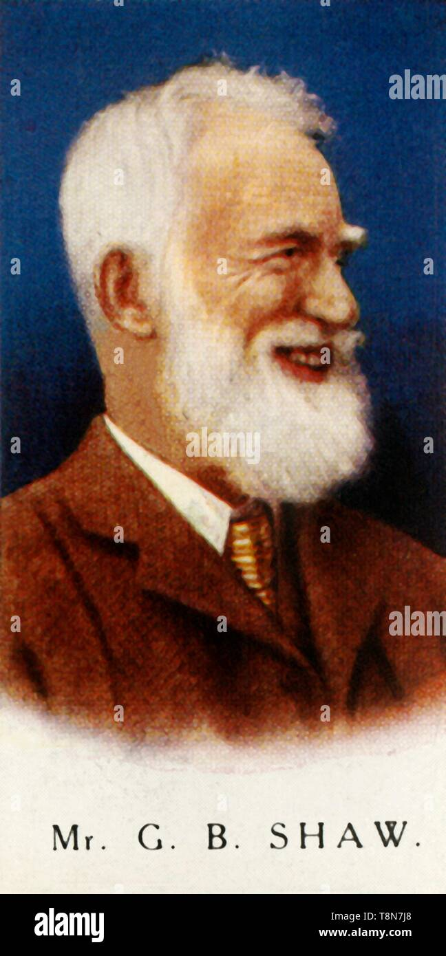 """'Mr. G. B. Shaw', 1927. George Bernard Shaw (1856-1950), Irish author, photographer, dramatist, literary critic, socialist and Nobel Prize winner. From """"A Series of 25 Famous Men - Carreras High-Class Cigarettes"""" [London, 1927] - Stock Image"""