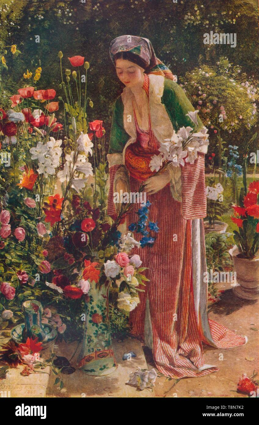 """'In The Bey's Garden', 1865, (1920). Marian Lewis wife of Orientalist artist John Frederick Lewis is portrayed as the wife of the Bey.  Oil on Wood. From """"The Connoisseur Vol. LVI"""" [Otto Limited, London, 1920.] - Stock Image"""