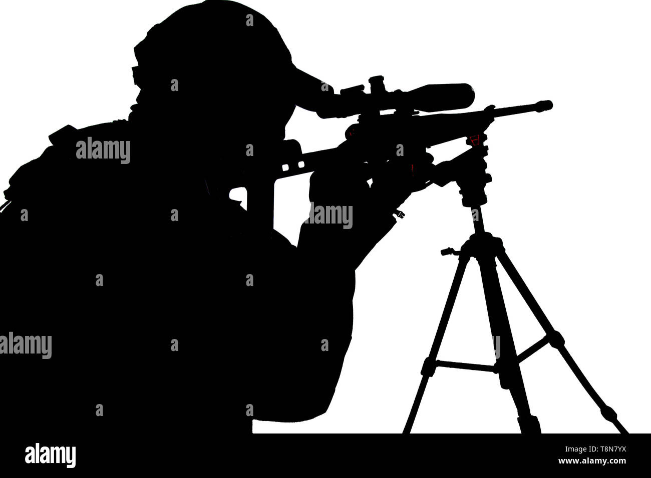 Police SWAT sniper aiming with rifle studio shoot - Stock Image