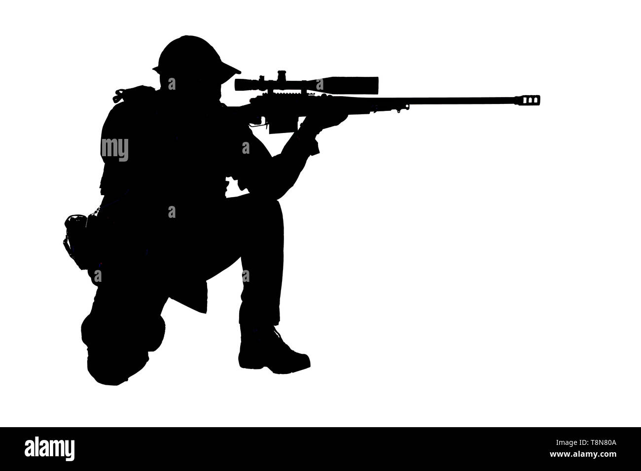 Police SWAT sniper shooting in sitting position - Stock Image